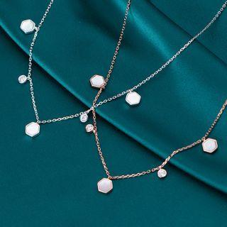 925 Sterling Silver Hexagon Shell Necklace