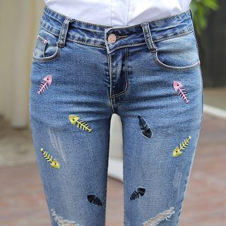 Distressed Embroidered Skinny Jeans