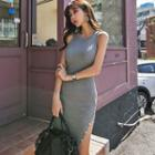 Knit Sleeveless Sheath Midi Dress