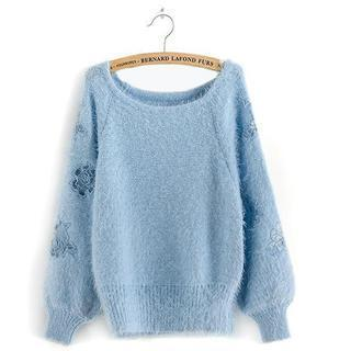 Lace-panel Furry-knit Top