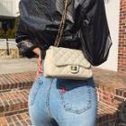 Twist-lock Chain-strap Quilted Shoulder Bag