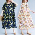Elbow-sleeve Lemon Print A-line Midi Dress