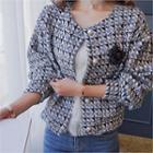 Puff-sleeve Faux-pearl Button Tweed Jacket