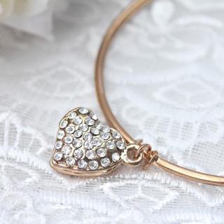 Diamond On Heart Adjustable Bracelet -gold