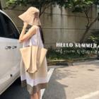 Sleeveless Color-block Dress Beige - One Size
