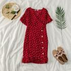 Ruffle Trim Sweetheart Patterned Chiffon Midi Dress
