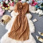 Bow-neck Dotted Chiffon Dress