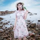 Floral Short-sleeve A-line Qipao