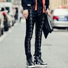 Studded Zip Accent Skinny Jeans