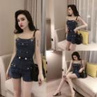 Chained Strappy Denim Playsuit