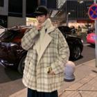 Fleece Trim Plaid One-button Blazer