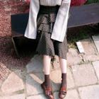 Asymmetric-ruffle Plaid Long Skirt
