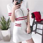 Striped Short-sleeve Mini Knitted Dress White - One Size