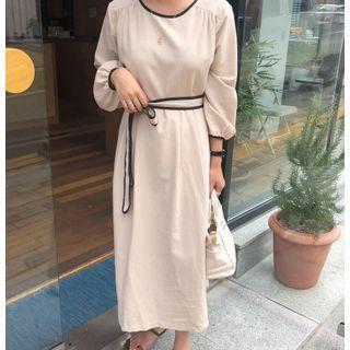 Contrast Trim Tie-waist Midi A-line Dress