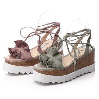 Genuine Leather Ruffled Platform Sandals