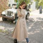 Flap-front Long Trench Coat With Belt