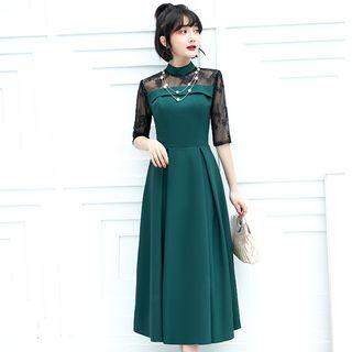 Floral Embroidered Mesh-sleeve Tie-waist Midi A-line Dress