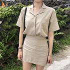 Set: Short-sleeve Linen Shirt + Miniskirt