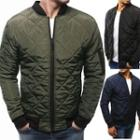 Plain Zip Quilted Bomber Jacket