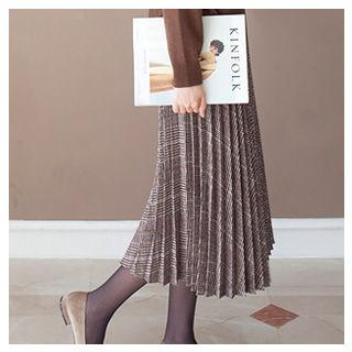 Accordion Pleated Plaid Skirt