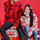 Couple Crew-neck Plaid Sweater