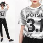 Lettering-front Stripe T-shirt