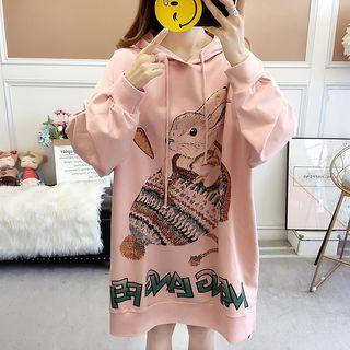 Printed Hooded Oversize Long-sleeve T-shirt Dress