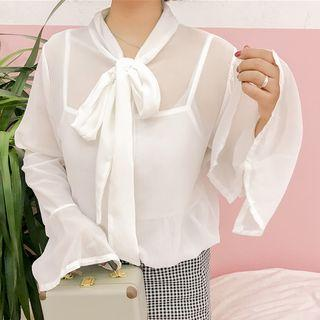 Set: Tie-neck Bell-sleeve Chiffon Blouse + Camisole Top