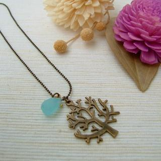 Blue Drop Tree Necklace Copper - One Size