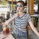 Striped Short-sleeve Drawstring Knit Top