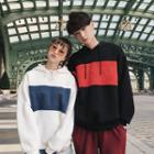 Couple Matching Lettering Color Block Hooded Sweatshirt