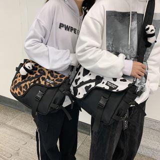 Patterned Buckled Nylon Messenger Bag