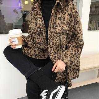 Leopard Pattern Button Jacket Leopard - Khaki - One Size