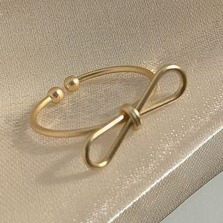 Alloy Bow Open Ring 1 Pc - Gold - One Size