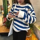 Cutout Striped Sweater