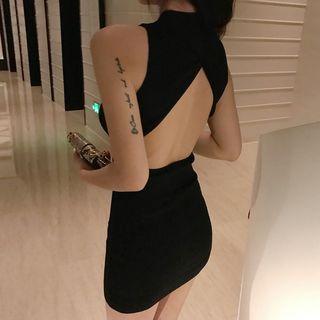 Sleeveless Open-back Mini Bodycon Dress As Shown In Figure - One Size