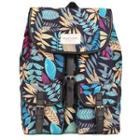 Leaves-print Canvas Backpack