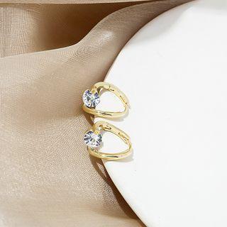 Rhinestone Drop Earring E4520 - 1 Pair - Gold - One Size
