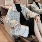 Fringed Trim Tweed Buttoned Jacket