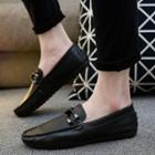 Faux-leather Cross Strap Loafers