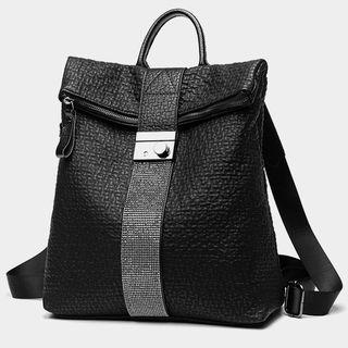 Genuine Leather Croc Grain Backpack Black - One Size