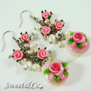 Sweet Mini Pink Glitter Cupcake Floral Pearl Earrings