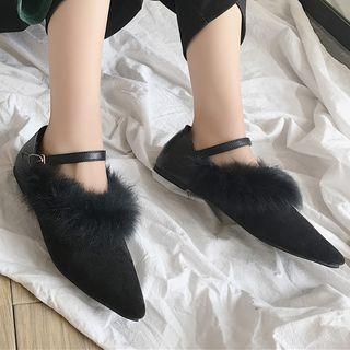 Furry Pointy Toe Flats