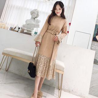 Lace Panel Midi Sweater Dress