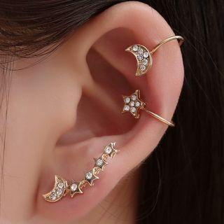 Set: Rhinestone Moon & Star Earring (assorted Designs) 01-4343 - Gold - One Size