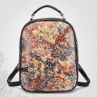 Faux-leather Floral Backpack