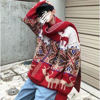 Loose-fit Printed Sweater With Scarf