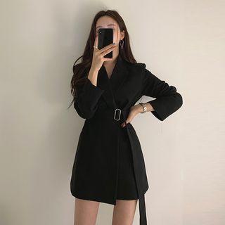 Tie-waist Open Front Long Blazer