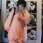 Lettering Milk Tea Hooded Sweatshirt