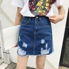 Ripped A-line Mini Denim Skirt